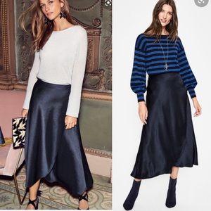 Boden | Navy Epsom Midi Wrap Skirt 2R